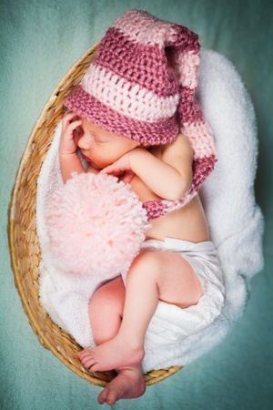 Portrait of a newborn caucasian girl photo