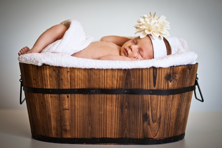 Portrait of a newborn caucasian girl photo