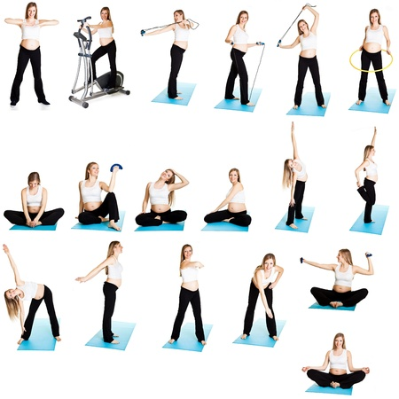 Pregnant woman fitness collage