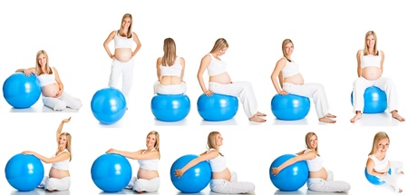 Pregnant woman fitness collage photo