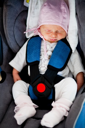 Newborn in car seat photo