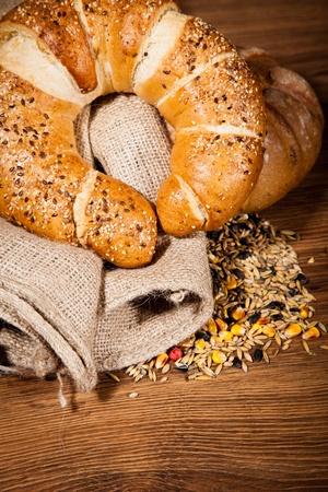 Composition of fresh bread on wood Stock Photo - 10477020