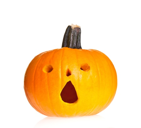 Halloween scary jackolantern pumpkin face isolated on white