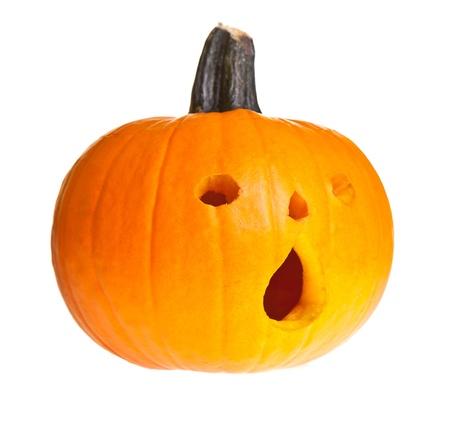 circuses: Halloween scary jackolantern pumpkin face isolated on white