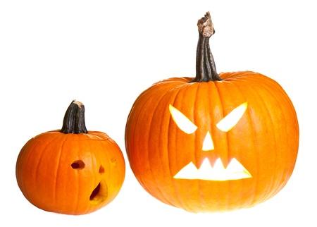 calabazas de halloween: Halloween de miedo la cara de calabaza jack'o'lantern aislado en blanco