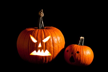 Halloween scary jackolantern pumpkin faces Stock Photo