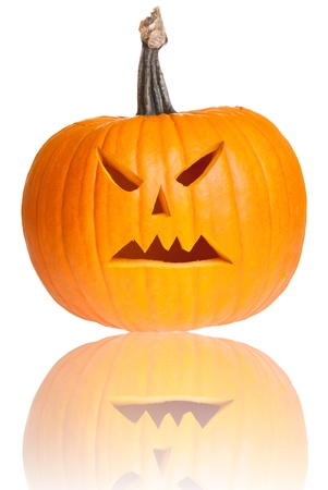 Halloween scary jackolantern pumpkin face isolated on white photo