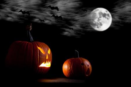 Halloween scary jack'o'lantern pumpkin faces Stock Photo - 10546495