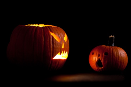 Halloween scary jackolantern pumpkin faces photo
