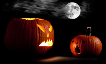 Halloween scary jackolantern pumpkin faces Stock Photo