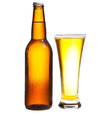 Beer isolated on white photo