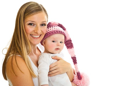 Mother with happy and cute infant baby girl isolated on white