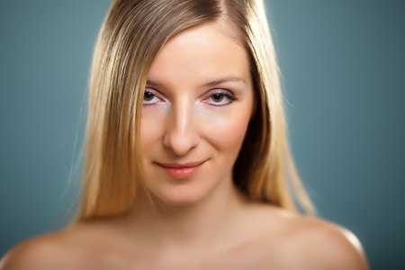 Beauty shot of caucasian blond shallow dof photo
