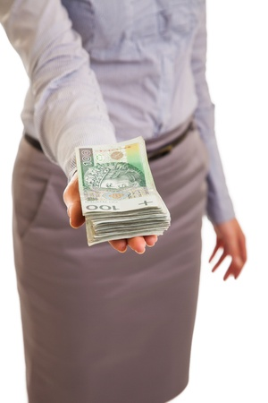 Businesswoman with polish zloty banknotes isolated on white Stock Photo - 12946438