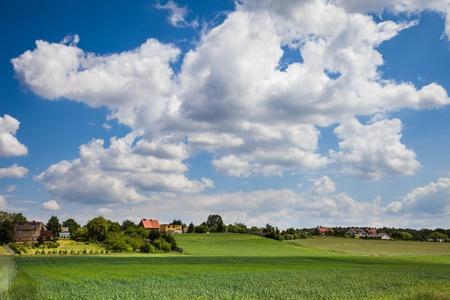 landsape: Rural landsape with fields and village Stock Photo