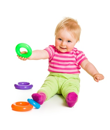 Infant playing and learning isolated on white Stock Photo - 13964471