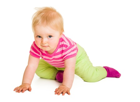 excersise: Cute infant girl isolated on white Stock Photo