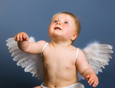 valentine cherub: Infant baby with angel wings on neutral background