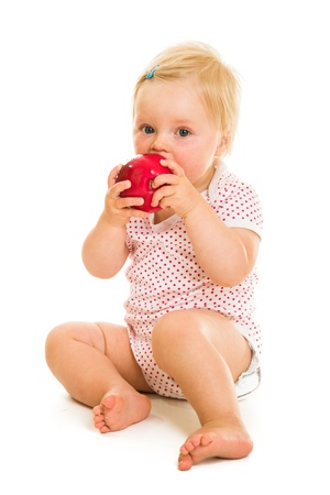 Cute infant girl learining to eat with spoon Stock Photo - 15036176