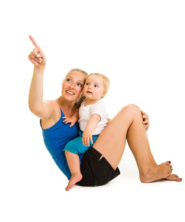 Cute infant girl with mother isolated on white Stock Photo - 15036166