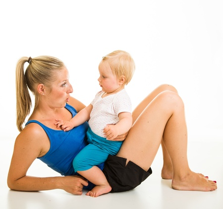 Cute infant girl with mother isolated on white Stock Photo - 15036198