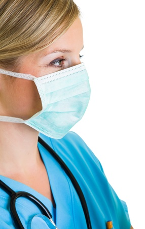 doctor with mask: Woman doctor wearing protective face mask