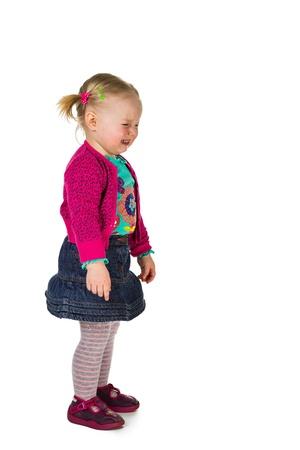 tantrum: Crying baby girl isolated on white
