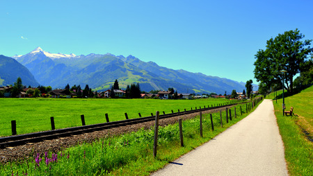 Bike path and walking path in Zell am See, Austria Stock Photo