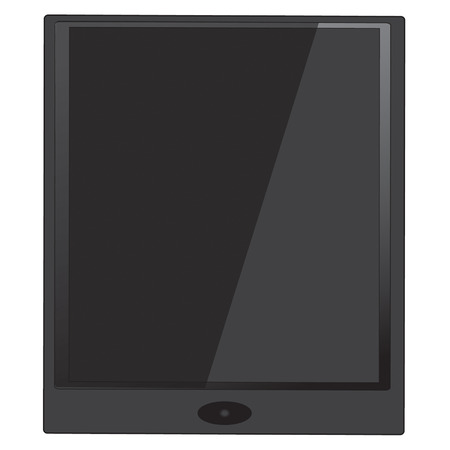electronic organiser: black Tablet computer vector with oval button Illustration