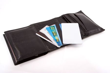 Leather wallet with fan shape plastic cards photo