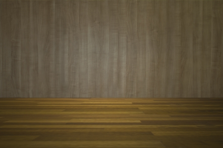 Empty room with wooden wall and wooden floor interior background