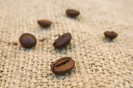 Coffee beans on vintage background  Stock Photo