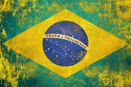 그런 콘크리트 벽에 브라질 국기 스톡 사진