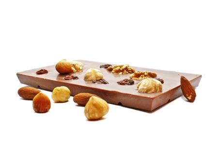 Fine chocolate with whole hazelnuts, almonds, raisins and walnuts