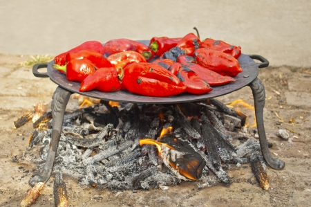 Roasted red peppers on the barbecue