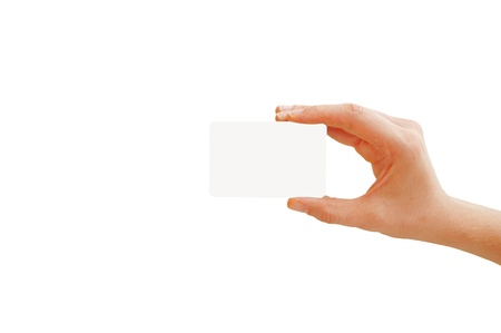 Empty business card in a right hand isolated on white photo