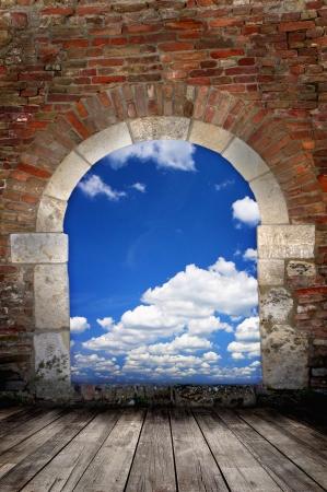 free space: Door to sky - conceptual image - business metaphor  Stock Photo