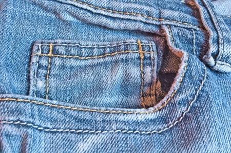 Closeup of the blue jeans pocket  Stock Photo
