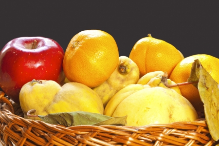 Autumn fruits,  apples, quinces and tangerines