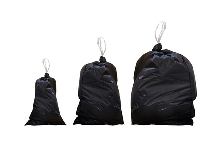 Garbage bags isolated on a white background photo