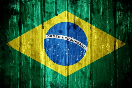 Flag of Brazil, image is overlaid with grunge texture Stock Photo