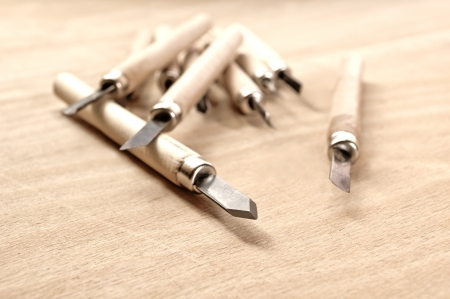 Wood carving tools in Sepia, conceptual image