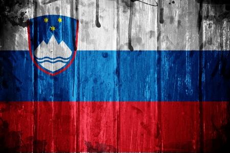 슬로베니아의 국기, 이미지 grunge 텍스처와 겹쳐