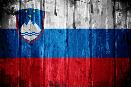 Flag of Slovenia, image is overlaid with grunge texture