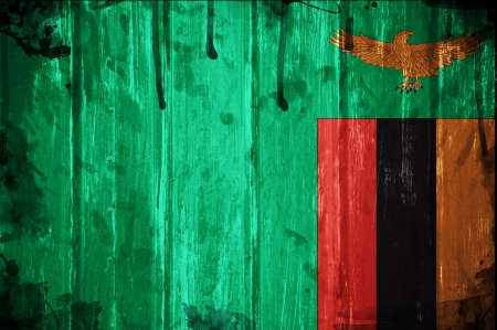 zambian: Flag of Zambia, image is overlaid with grunge texture Stock Photo