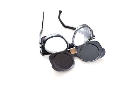용접 안경 흰색 배경에 고립