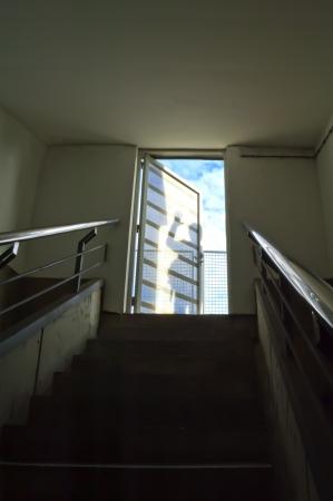 계단 문에 그림자로 이어지는 비즈니스는 유 스톡 사진