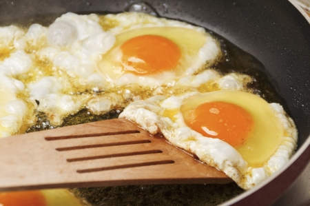 Close up view of the fried eggs on a frying pan Stock Photo - 17216659