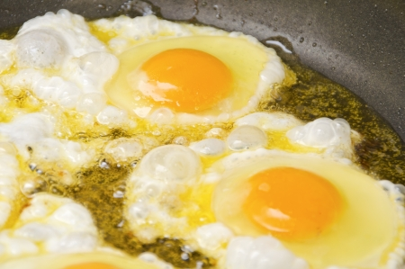 Close up view of the fried eggs on a frying pan  Stock Photo - 17259512
