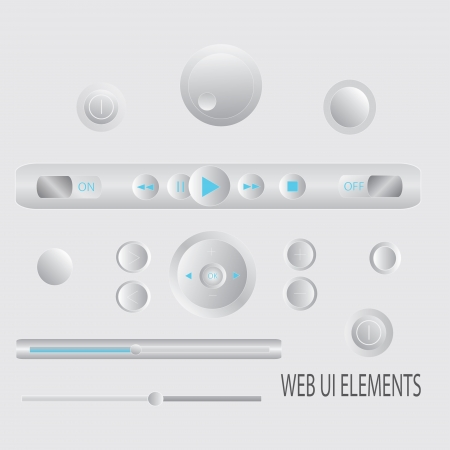 Light Web UI Elements Design Gray  Elements  Buttons, Switchers, Slider Stock Vector - 17303227